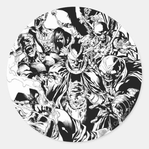 Cuerpo negro de la linterna - blanco y negro pegatinas redondas