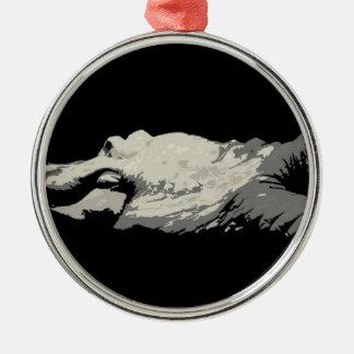 cuerpo principal gráfico del bw del cocodrilo blan adornos de navidad