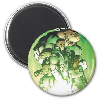 Cuerpo verde de la linterna imán redondo 5 cm