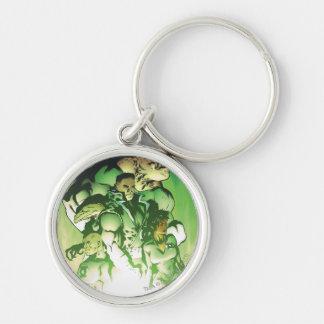 Cuerpo verde de la linterna llavero redondo plateado