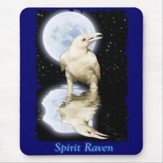 Cuervo blanco y Luna Llena Mousemat reflejado Alfombrilla De Raton