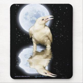 Cuervo blanco y Luna Llena Mousepad reflejado Alfombrilla De Ratón