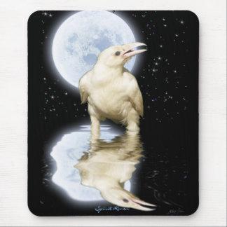 Cuervo blanco y Luna Llena Mousepad reflejado Alfombrilla De Ratones
