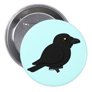 Cuervo común de Birdorable Pin Redondo De 3 Pulgadas