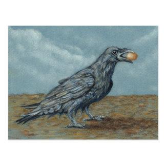 Cuervo con el huevo en postal del pico