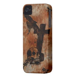 Cuervo cráneo caja gótica del teléfono de la ara
