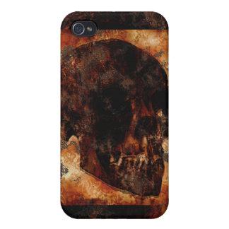 Cuervo, cráneo, lápida mortuoria, caso gótico de I iPhone 4 Carcasas