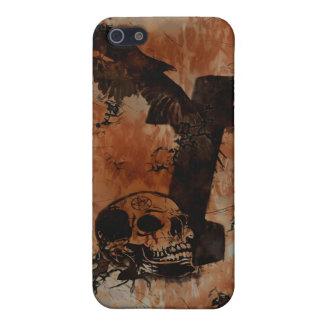Cuervo, cráneo, lápida mortuoria, caso gótico de I iPhone 5 Fundas