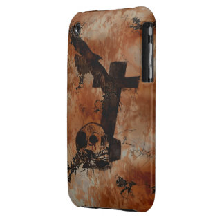 Cuervo, cráneo, lápida mortuoria, caso gótico del funda para iPhone 3 de Case-Mate