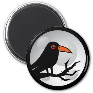 Cuervo/cuervo del gótico del mirlo imán redondo 5 cm
