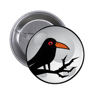 Cuervo/cuervo del gótico del mirlo pin redondo de 2 pulgadas