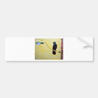 Cuervo de cacareo en un poste ligero pegatina de parachoque
