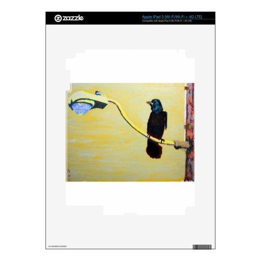 Cuervo de cacareo en un poste ligero iPad 3 skins