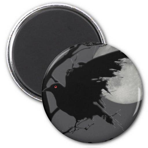 Cuervo de Halloween en rama con la Luna Llena Imán Redondo 5 Cm