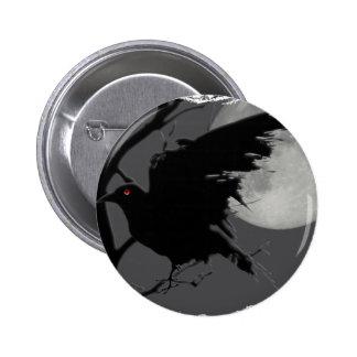 Cuervo de Halloween en rama con la Luna Llena Pin Redondo 5 Cm