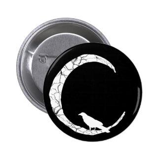 Cuervo de Halloween y botón de la luna del Pin Redondo De 2 Pulgadas