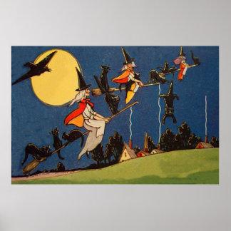 Cuervo de la luna del vuelo del gato negro de la b póster