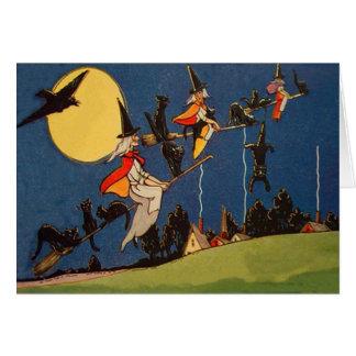 Cuervo de la luna del vuelo del gato negro de la b tarjeta de felicitación