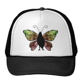 Cuervo de la mariposa del ala del arco iris gorros bordados