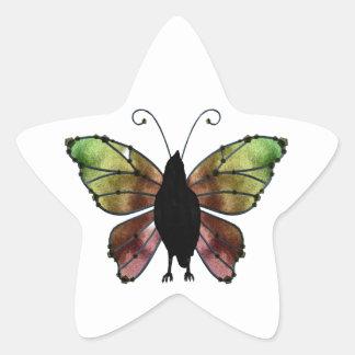 Cuervo de la mariposa del ala del arco iris colcomanias forma de estrella