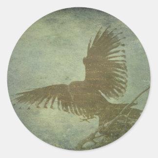 Cuervo de la poesía del Poe Pegatina Redonda