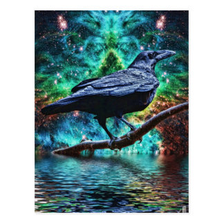 Cuervo de noche fantástico postales