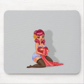 Cuervo de Raylene - modelo modelo cabelludo rosado Tapetes De Ratón