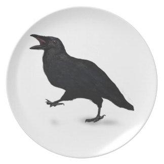 Cuervo de Sqwarking Plato De Comida