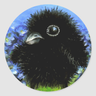 Cuervo del bebé pegatina redonda