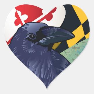 Cuervo del ciudadano, Maryland nunca más Pegatina En Forma De Corazón