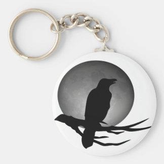 cuervo del claro de luna llavero redondo tipo pin