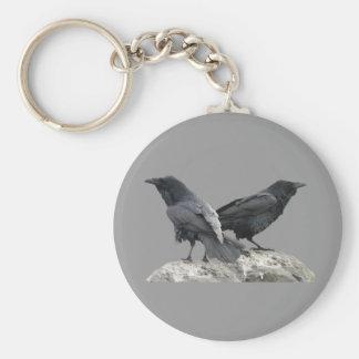 Cuervo del cuervo llavero redondo tipo pin