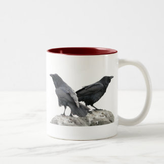 Cuervo del cuervo taza de café de dos colores