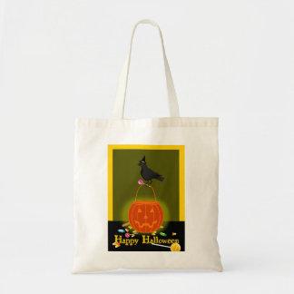 ¡Cuervo del feliz Halloween en la calabaza, la Bolsa Tela Barata