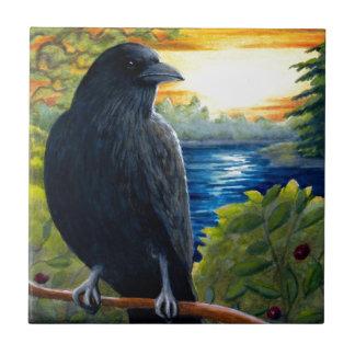 Cuervo del pájaro 63 teja cerámica