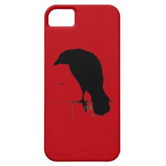 Cuervo del vintage en plantilla roja sangre iPhone 5 Case-Mate cobertura