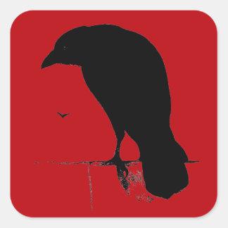 Cuervo del vintage en plantilla roja sangre calcomanías cuadradas