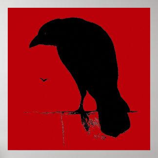 Cuervo del vintage en plantilla roja sangre póster