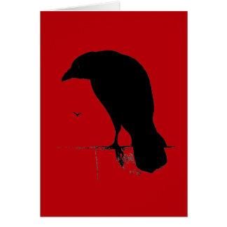 Cuervo del vintage en plantilla roja sangre tarjetas
