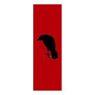 Cuervo del vintage en plantilla roja sangre tarjetas de visita