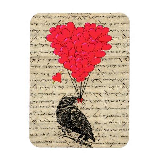 Cuervo del vintage y globos en forma de corazón imán foto rectangular