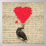 Cuervo del vintage y globos en forma de corazón impresiones
