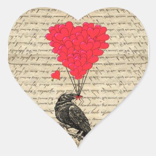 Cuervo del vintage y globos en forma de corazón calcomania de corazon personalizadas