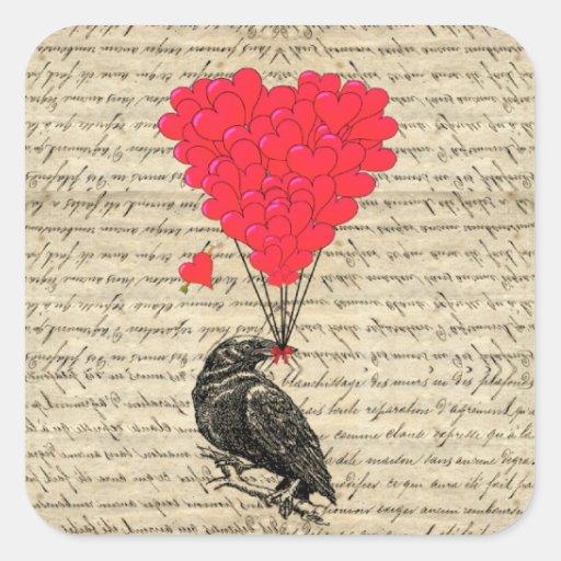 Cuervo del vintage y globos en forma de corazón pegatina cuadrada