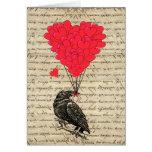 Cuervo del vintage y globos en forma de corazón tarjetas