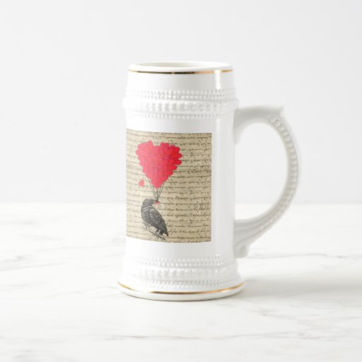 Cuervo del vintage y globos en forma de corazón jarra de cerveza