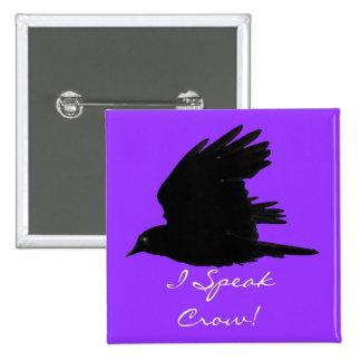 ¡CUERVO del VUELO hablo el cuervo! Arte del pájaro Pin Cuadrado