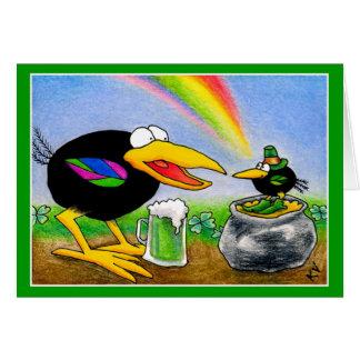 Cuervo divertido con el día del arroz del St. del Tarjeta De Felicitación