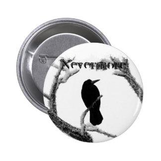 Cuervo Edgar Allan Poe del invierno de B&W nunca m Pin Redondo De 2 Pulgadas