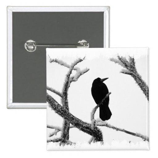 Cuervo Edgar Allan Poe del invierno de B&W Pins